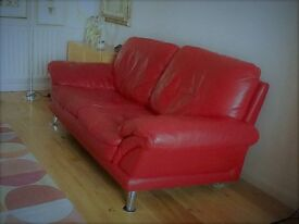 Contemporary Design Sofa In Soft Red Leather