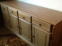 Sideboard, Mirror, TV cabinet, dining table 4 chairs and 2 Coffee Tables all in real light oak wood