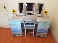 Shabby Chic Dressing Table with Tripple Mirror and Bedroom Chair in Grey and Blue