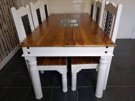 solid jali wood table and 6 chairs