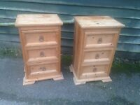 pair of solid pine 3 drawer bedside units