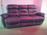 REDUCED!!! Make an offer. 3-seater purple leather sofa with left and right electric reclining seats