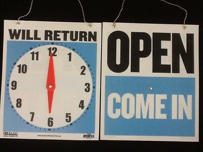 Open Closed Will Return Sign Clock Chain 2 Sided 9 X 7 Free Suction Cup