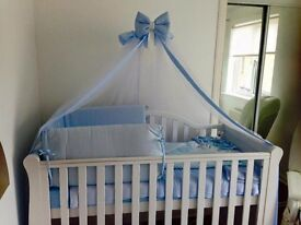 White Cot bed with mattress, drape and bedding