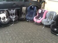 Group 1 car seats for9kg upto 18kg(9mths to 4yrs)-several available-all checked,washed and cleaned