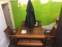 Wood 6-Piece Table, Chairs And Picnic Bench Set & FREE Parasol