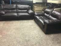 Lovely 2 and 3 seater in genuine Brown Leather
