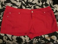 RED SHORTS SIZE 20 by new look GREAT FOR NIGHT OUT CLUBBING / HOLIDAY