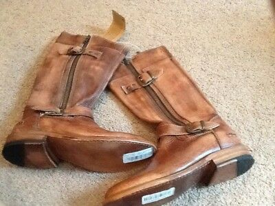 NEW! $295 BED STU GOGO LUG COBBLER TAN RUSTIC ZIP BOOTS SIZE 6M](Brown Gogo Boots)