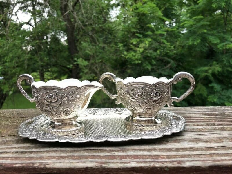 CREAMER AND SUGAR  SET SILVER PLATE REPOUSSEE ROSES  MADE IN JAPAN VINTAGE