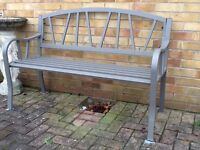 Garden Patio Bench Steel Grey Frame Box unopened