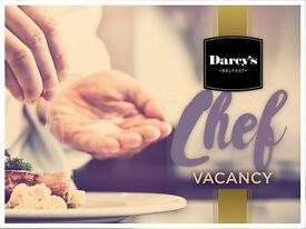 Chef Vacancies at Darcy's Belfast —Full and Part Time positions available!