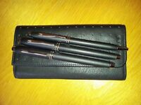 "Cross ""Townsend"" Ball Point Pen, Fountain Pen & Roller Ball Pen in leather case."