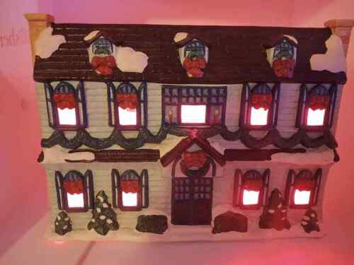 Vintage Ceramic House Double Sided Lighted Christmas Side Pumpkin Side RARE