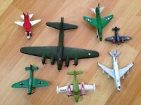 Collection of vintage metal toy planes(1970s)