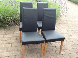 Black leather dining chairs (4)