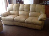 3 piece suite recliner in cream