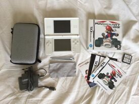Nintendo DS Lite (white) + Mario Kart game, charger, case, two spare styluses and screen cleaner