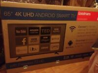65inch 4k UHD android smart tv wth built-in freeview