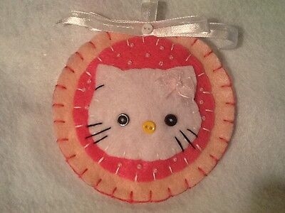 Hello kitty Christmas ornament, handmade, felt, decoration, pink