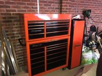 Snap On Tool Box 40 inch top and bottom with side cabinet and tools