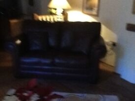 Like new 2 leather sofas in top quality tan hide, hardly used and perfect condition, also 4 cushions