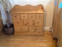 2 piece pine dresser. Wall and chest of drawers.