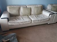 Cream leather sofa and 2 arm chairs