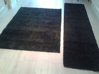 new black and grey mix shaggy rug and runner set