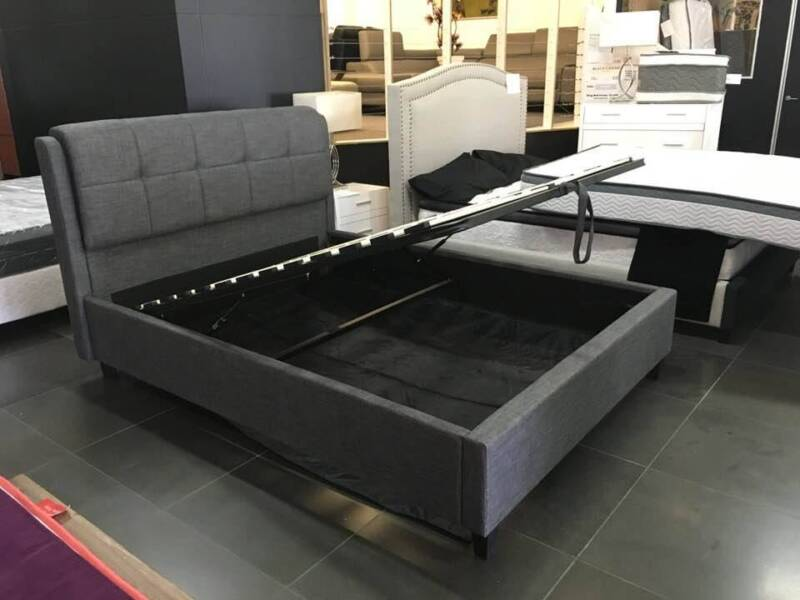 New Gabriel Gas Lift Bed Frame In Charcoal Spa Color