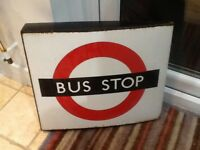 Vintage london bus stop enamel sign white d/sided