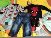 *BARGAIN* INFANT SIZE 5 'MESSI' ADIDAS TRAINERS + 2 18-24 MONTHS NEXT SPIDERMAN TOPS + M+ S JEANS