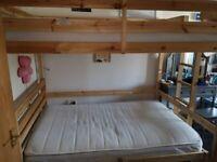 Double pine high sleeper with Double memory foam mattress