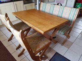 Farmhouse style solid extending kitchen table bench and chairs. Rustic wooden set