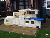 Little trikes country kitchen + washing machine & cupboard very good condition £50 collection only