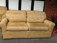 Next large 2 seater sofa and matching armchair Canterbury model in Napoli gold.