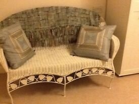 Wicker painted white two seater