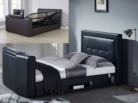 Double TV bed gaslift storage black + beds, mattresses, bed and mattress deals, call now