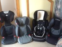 Car seats for 4yrs upto 12yrs(15kg upto 36kg child weight)from £20 upto £35 each-all washed&cleaned