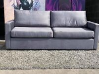The Apartment 3 Seater Sofa and Cuddle Chair Upholstered in Pepper Grey Velour fabric