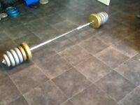 Barbell with 32.5kg of weights plates