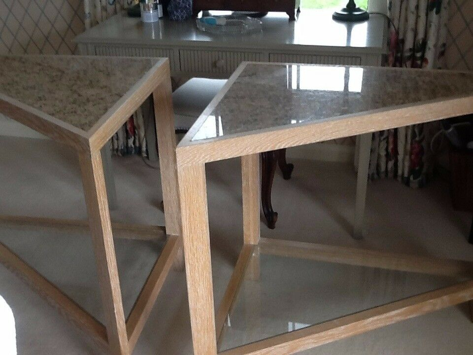 Bespoke Limewashed Oak, Granite and Glass side tables