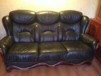 Dk green leather 3 piece suite