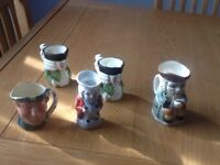 Vintage Toby jugs mini size about 3in there is 5 only £8 the lot