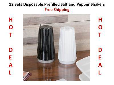 (12 Sets) Disposable Prefilled Plastic Picnic Salt and Pepper Shakers