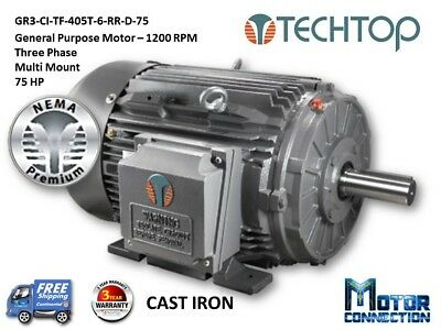 75 Hp Electric Motor Gen Purp1200 Rpm 3-phase 405t Cast Iron Nema Premium