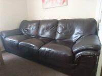 Large brown leather 3 & 2 seater sofas , great condition viewing welcome £250 ovno