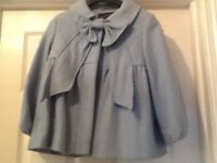 Beautiful Pale Blue wool Coat with Bow Detail