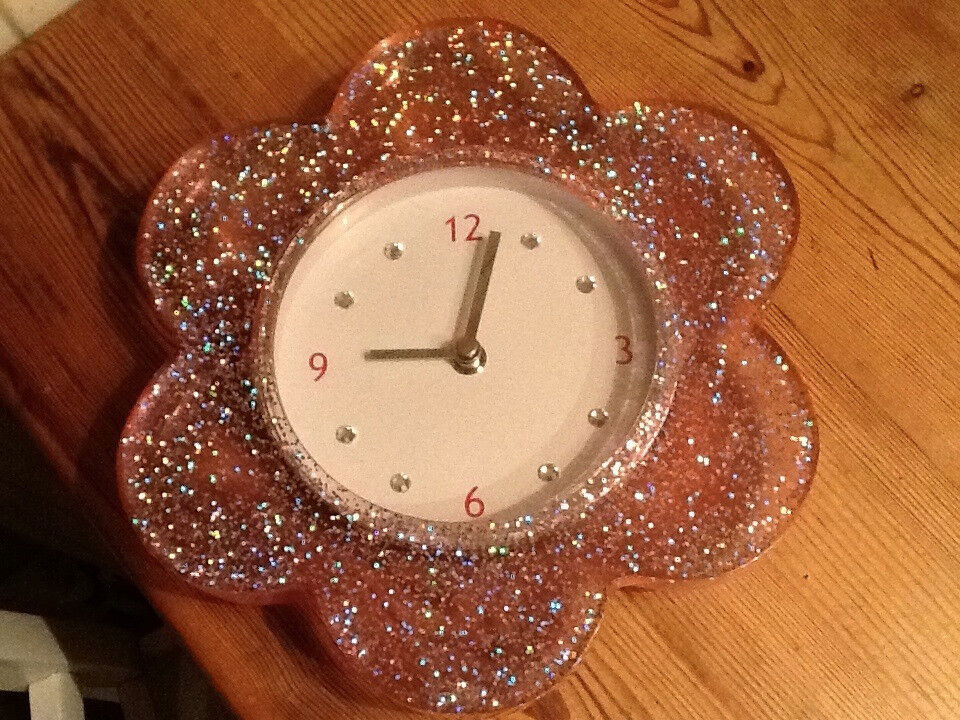 Next Pink Glitter Flower Wall Clock complete with box and instructions