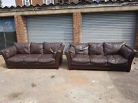 Comfy brown leather sofa suite ,3 and 3 ,pair of large 3 seater sofas ,couple marks ,can deliver